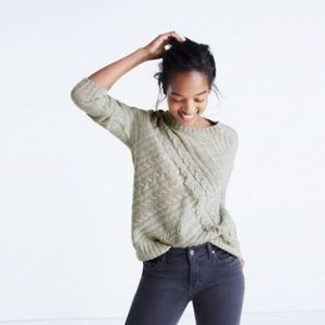 Madewell grey cableknit fringe sweater, m